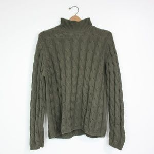 LL Bean Olive Green Cable Knit Mock Neck Sweater
